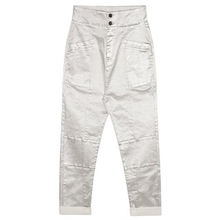High waist denim metallic
