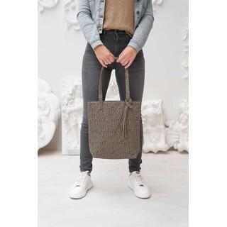 Basic shopper met kwast - zand gespikkeld