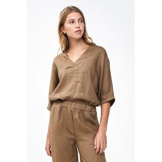 Liva linen blouse - sepia