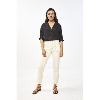 Liva linen blouse - jet black